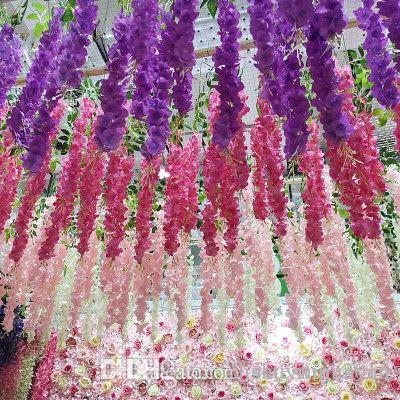 hera artificial flores de seda flor Wisteria Vine flor Rattan para o casamento Centerpieces Decoração Bouquet Garland Início Ornamento IF01
