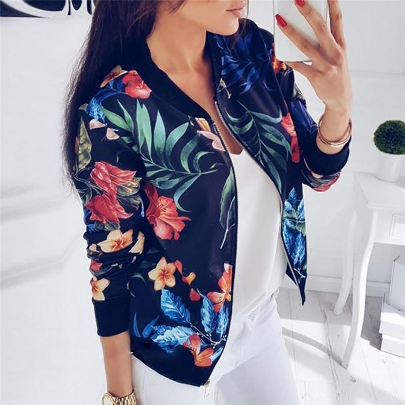 Женская куртка печать с длинным рукавом топы молния куртка верхняя одежда свободные топы Casacas Para Mujer плюс размер челнок L#3