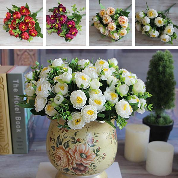 Künstliche Rose 15 Blumen-Köpfe Rose Magnolia Peony Bouquet-Raum-Dekor