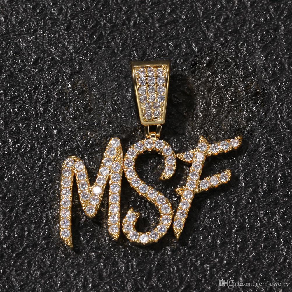A-Z Nombre Personalizado Cepillo Fuentes de Letras Personalizar Collar Colgante Cadena Oro Plata Bling Zirconia Hombres Hip Hop Colgante de Joyería