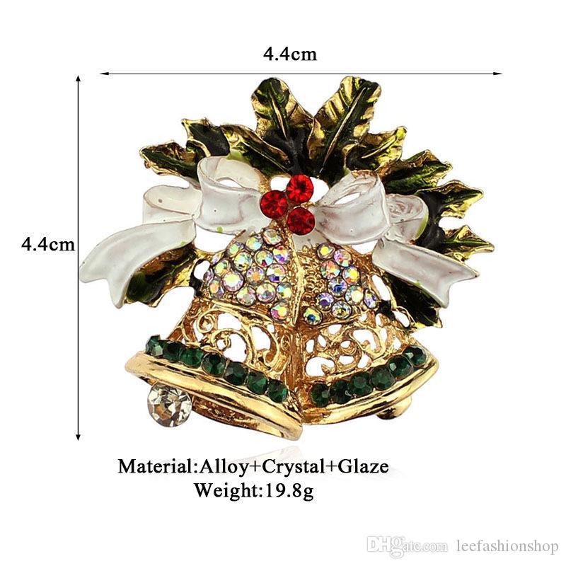 Noël à chaud de vente de bijoux de mode en alliage diamant papillon Broche Cloche Noël Étoile Broche Accessoires Haute Joaillerie Qualité XXZ0039