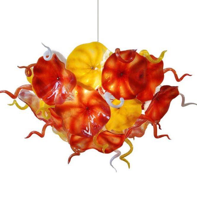Fashion New Flower Plates Chandelier Lighting Orange Yellow Design Hand Blown Glass Chain LED Light Fixture Chandeliers