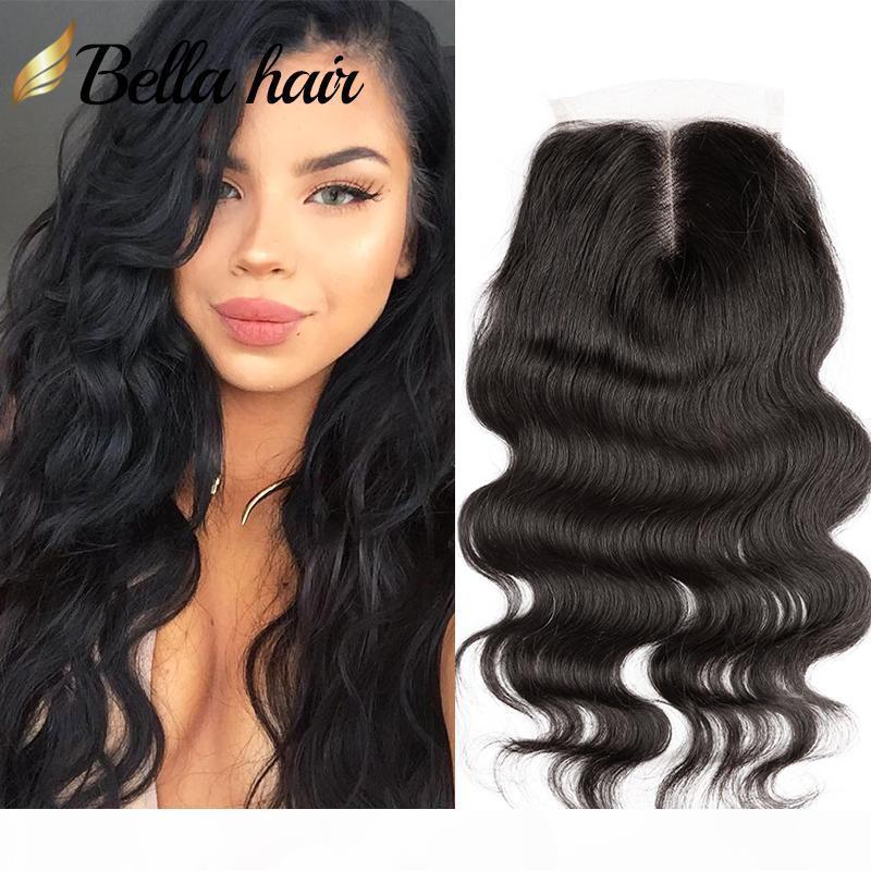 % 100 Perulu İnsan Saç Uzantıları HD Kahverengi En Dantel Kapatma Orta Kısım Vücut Dalga Şeffaf Dantel Doğal Renk Ücretsiz Gönderim Bella Saç