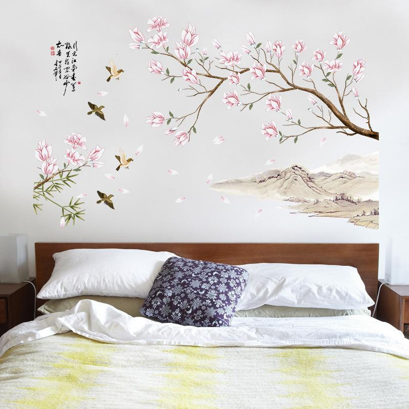 3D Peach Blossom Flowers Birds Wall Stickers Home Decor Living Room Bedroom TV Sofa Wall Poster Chinese Style PVC DIY Art Mural