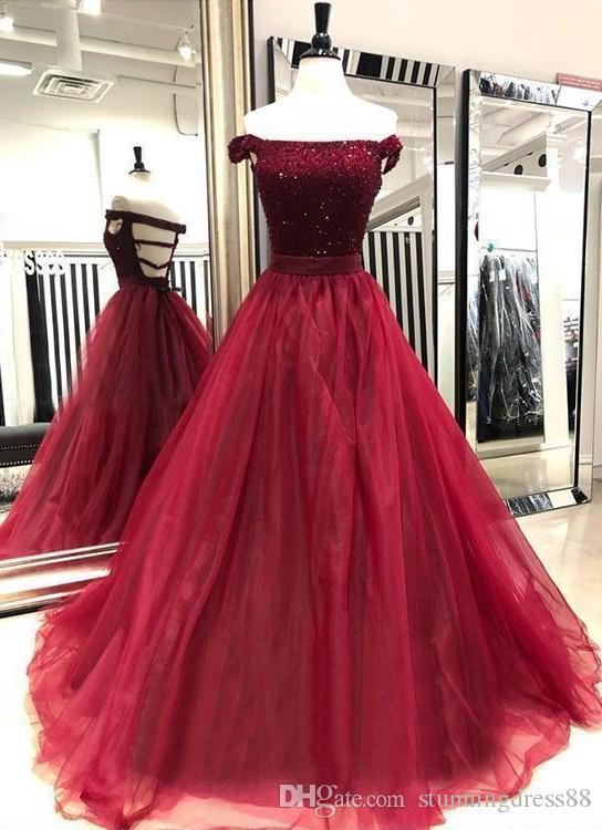 Glittering A line Burgundy Evening Prom Dress Off the shoulder Backless Organza Crystal Beaded Top Long Homecoming Party Cocktail Dress