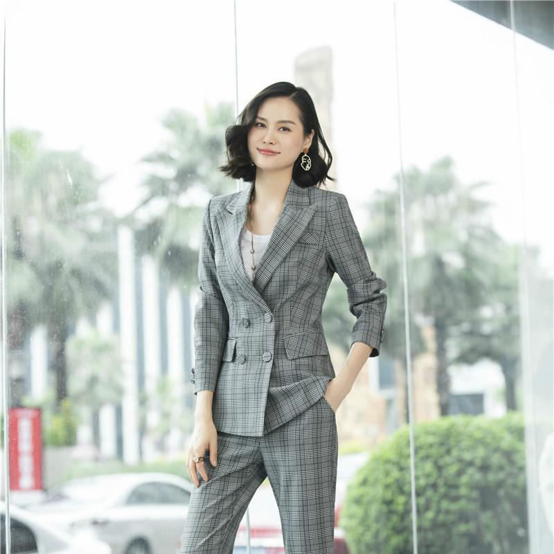 Wholesale-High Quality Fabric Office Uniform Designs Women Blazers and Jackets Grey Plaid Ladies Business Elegant Formal Office Clothes