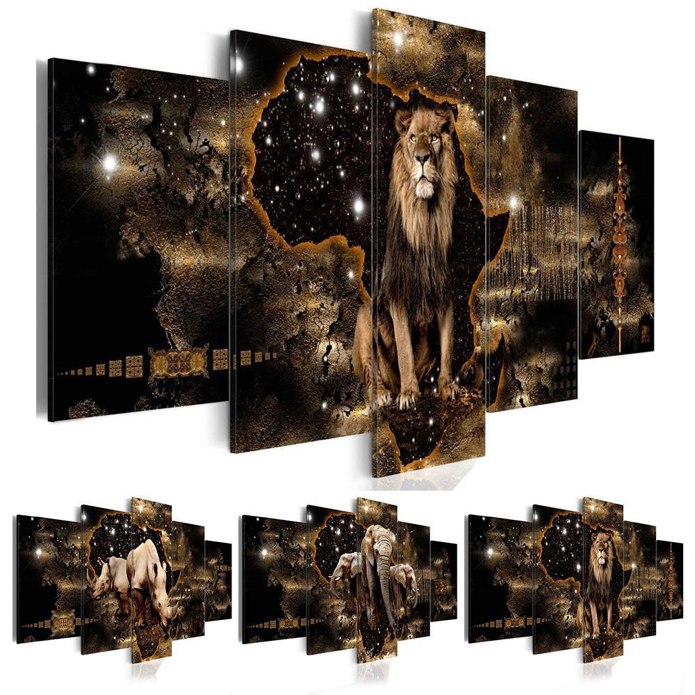 5 Pçs moda arte arte pintura abstrata textura dourada animal leão elefante rinoceronte moderno decoração doméstica sem moldura t200608
