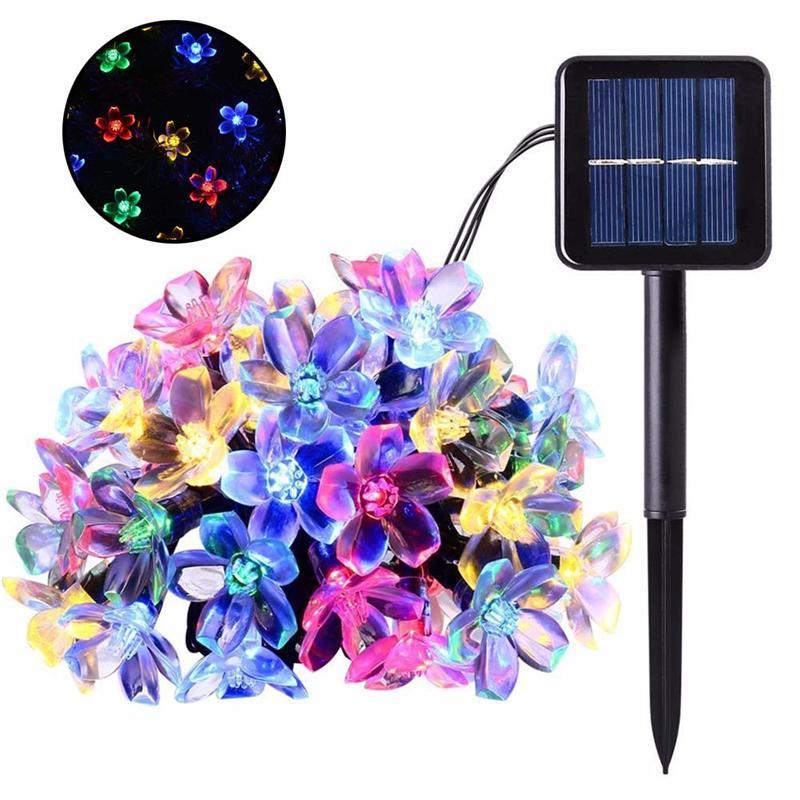 50 LEDs 7M Peach Sakura Flower Energia Solar da Lâmpada LED corda luzes de fadas Solar Guirlandas Jardim de Natal decoração para exterior