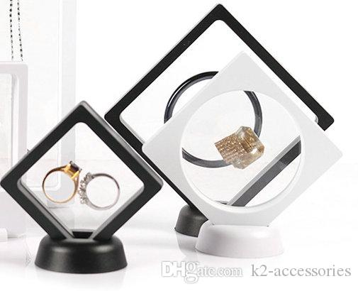 Black White Suspended Floating Display Case Jewellery bracelet Ring Coins Gems Artefacts Stand Holder Box Free Shipping