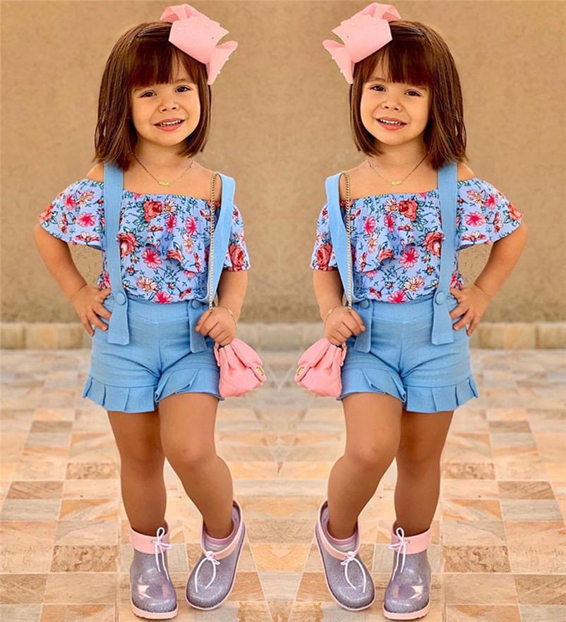 Baby Girls Clothes Suits 2020 Summer Children Floral Tube Tops + Overalls 2pcs Sets For 1-6T Kids Ruffles Sleeve Strapless Outfit E22603