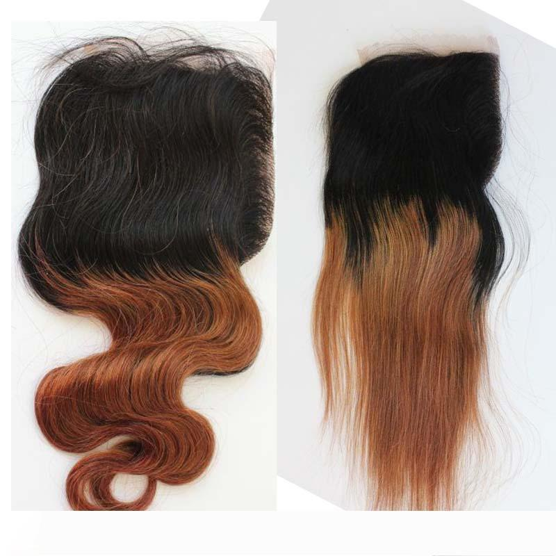 Ombre de color 1B # 30 del cordón de Brown encierro de la tapa del pelo humano del 130% brasileña densidad del pelo del cordón Cierres de la onda del cuerpo recto con el pelo del bebé
