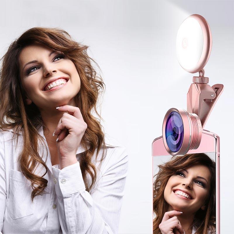 BRELONG LED Selfie 플래시 라이트 뷰티 아티팩트 9 단계 어안 렌즈로 조명 조절 채우기 광각 렌즈 매크로 렌즈