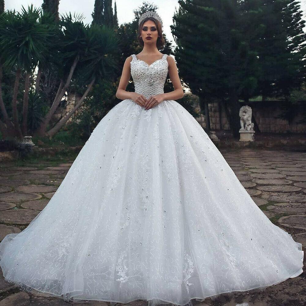 2020 럭셔리 사우디 아라비아 긴 웨딩 드레스 섹시한 크리스탈 플러스 사이즈 신부 드레스 공 가운 rooves de mariée