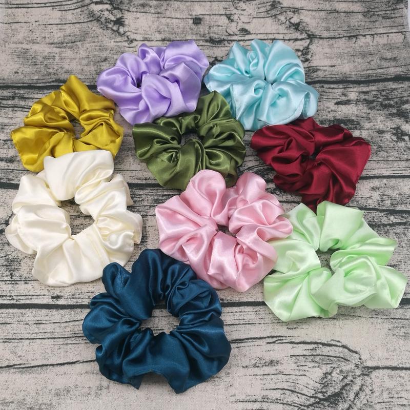 Scrunchies Headbands sólidos Bandas de cetim de seda Hairbands Scrunchie cabelo das meninas rabo de cavalo titular Verão Acessórios do cabelo 9 cores DW5364