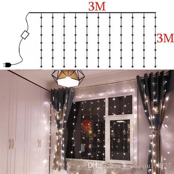 3M 3M 300 LED Beyaz Işık Romantik Noel Düğün Açık Kapalı Lambası Dekorasyon Perde Dize Işık 110V x