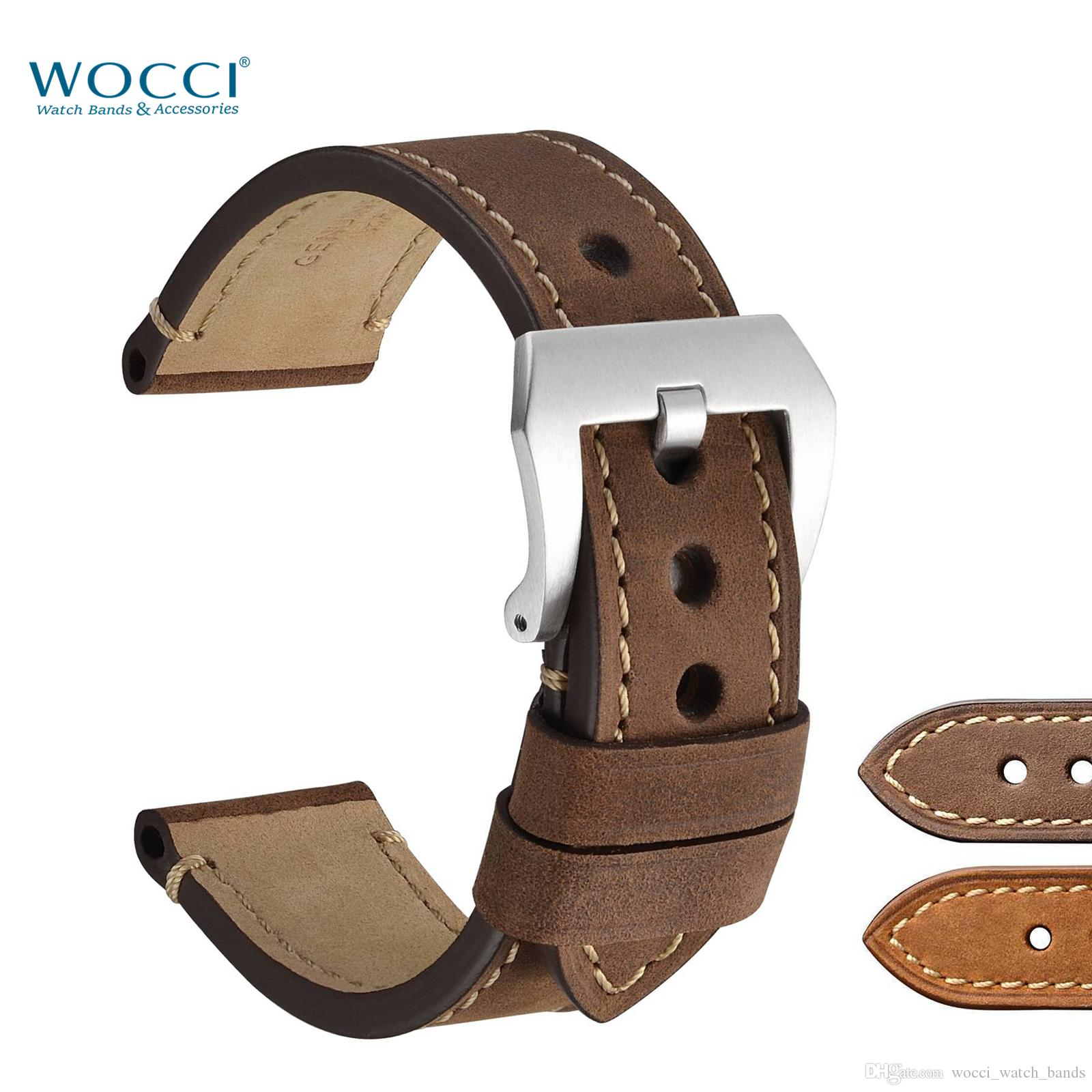 WOCCI en cuir brun bracelets de montre pour 18mm 20 mm 22mm 24mm Bracelet Homme Montre-bracelet à boucle en suède surface inoxydable