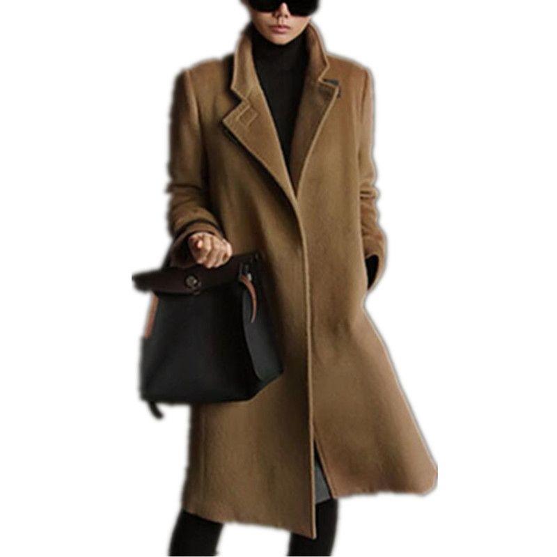 2019 Herbst-Winter-neue Frauen-Mantel Art und Weise Europen klassische weibliche Overcoat Stehkragen langen Wollmantel