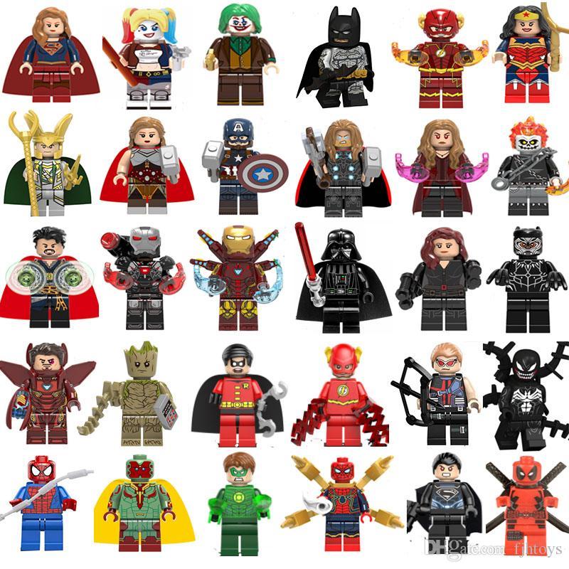 YENİ Süper kahraman Mini blokları çocuklar hediyeler bina Marvel Avengers DC Justice League Wonder kadın Deadpool Batman Groot Şekil