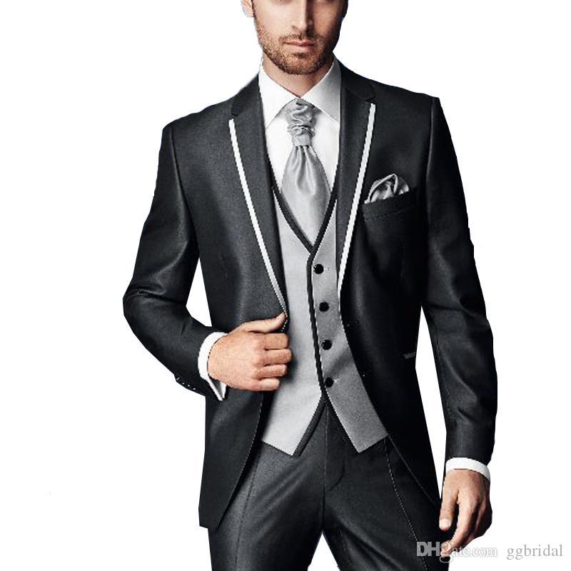 2019 benutzerdefinierte Männer Hochzeit Smoking Blazer + Pants + Weste 3 Stücke Bräutigam Anzug Smoking Groomsmen Best Man Suit für Hochzeit