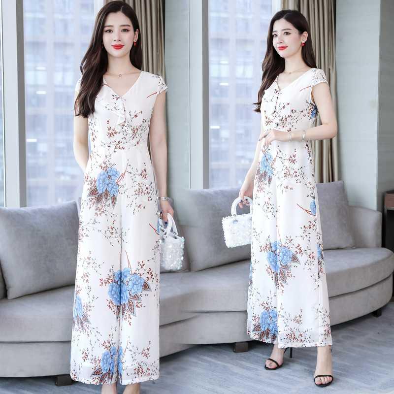 2020 лето новый комбинезон женщины белый элегантный Printedv-образным вырезом Высокая Талия тонкий широкие брюки плюс размер комбинезон Женская одежда