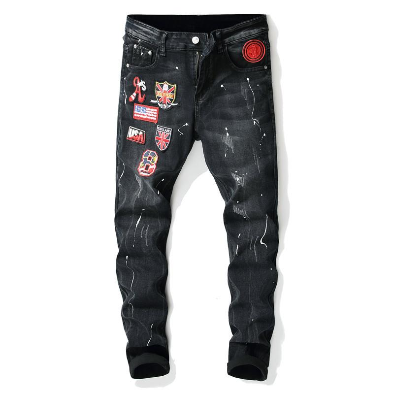 European Style New Straight Personality Trend Men Jeans Destroy Pants Retro Printing Flag Patch Hole Male Personality Trousers