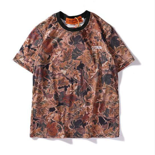20SS Mens Designer T-shirt Fashion Style Rue marée Marque 3D Feuille d'impression Couple manches courtes hommes et les femmes Hip-hop Tee Europe et en Amérique