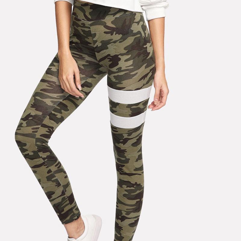 * Mujeres pantalones de yoga Camuflaje Imprimir Otoño de alta elástico de impresión polainas que basa la aptitud pantalón Ejecución del gimnasio del deporte