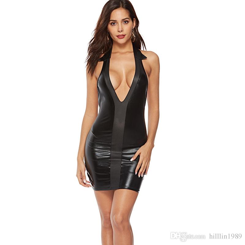 PVC Street Style Dresses Faux Leather Bodycon Party Mini Dress Black Sexy Clubwear Backless Night Bar Club Wear