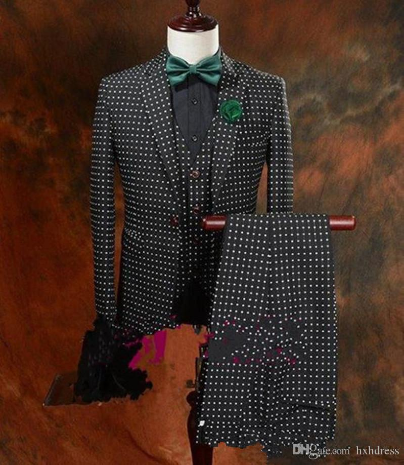 New Hot Sell Black Polka Dot Groom Tuxedos Man Blazer Prom Dinner Business Suits (Jacket+Pants+Bow Tie) XF213