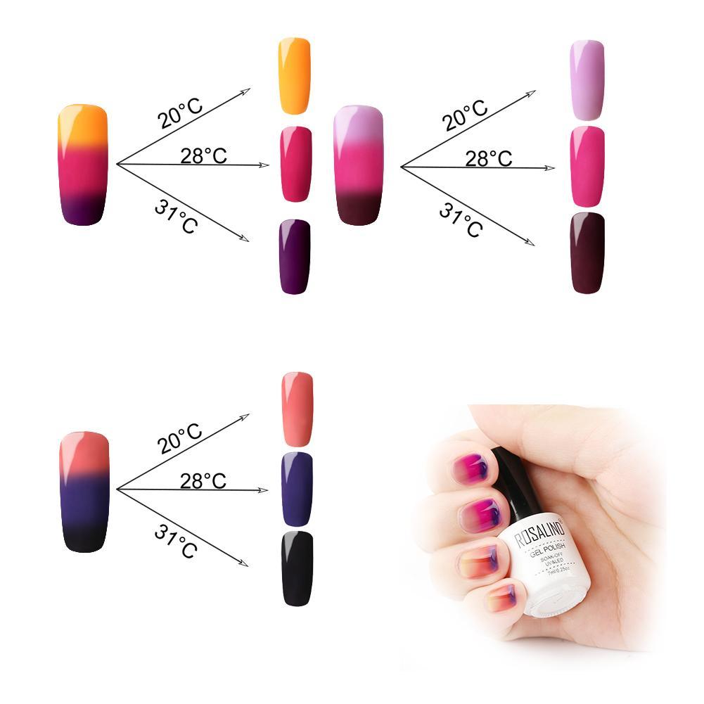 Smalto per unghie Soak Off Gel Uv Led 3 Colori Temperatura termica Cambia colore Lacca per unghie Manicure Salon professionale per Nail De