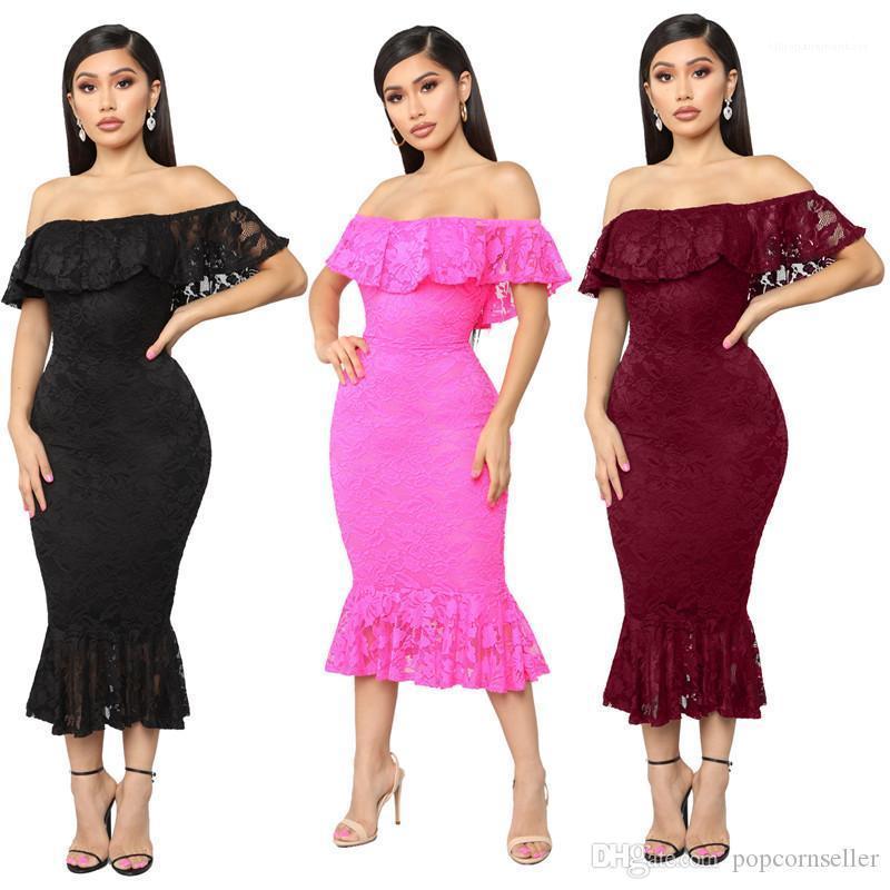 Fora Red Lace Corte Vestidos Pescoço BODYCON Vestidos Womens Verão Designer Mulher Partido Vestidos Sexy oco