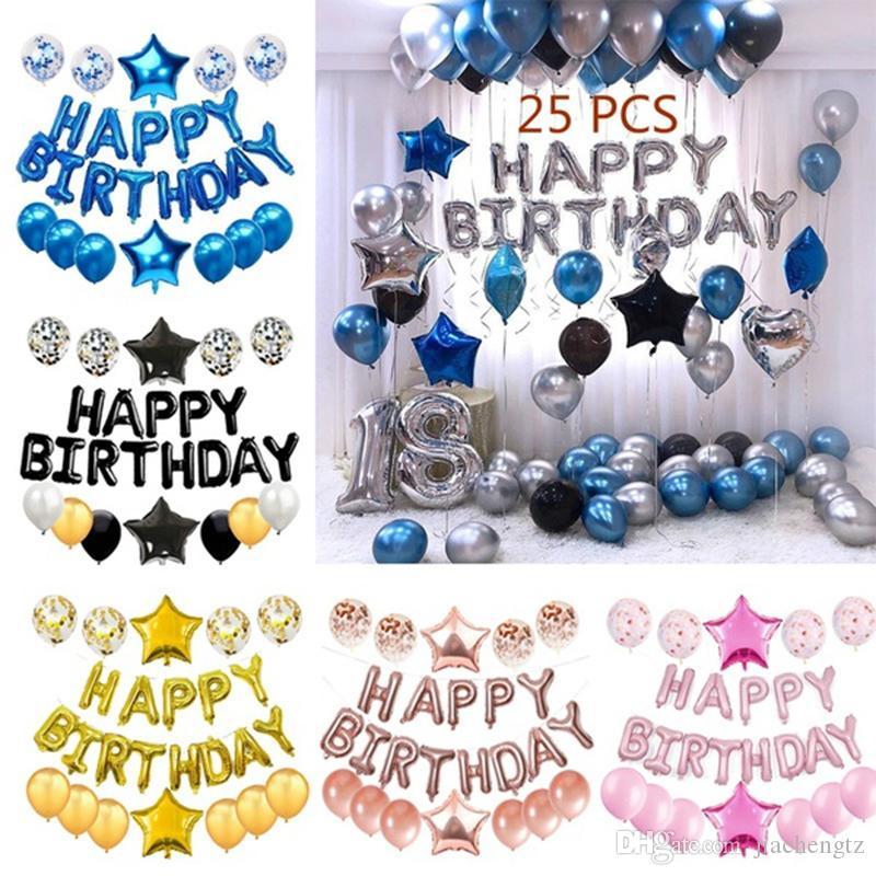 전체 생일 축하 편지에서 25 PC 풍선 심장 스타 색종이 및 알루미늄 호일 라텍스 파티 풍선 세트 생일 파티 장식 용품