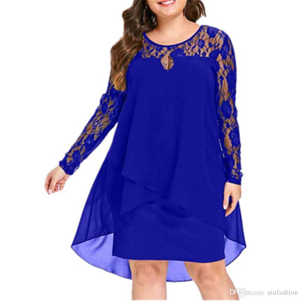Women Plus Size Chiffon Dresses Women New Fashion Chiffon Overlay Three Quarter Sleeve Stitching Irregular Hem Lace Dress