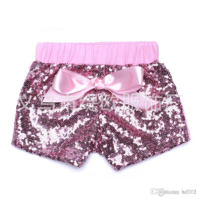 Girls Mermaid Sequins Short Pants Candy Color Bow Chlid Shorts Fashion Mini Trouseres Hot Summer Home Clothes 25to E1