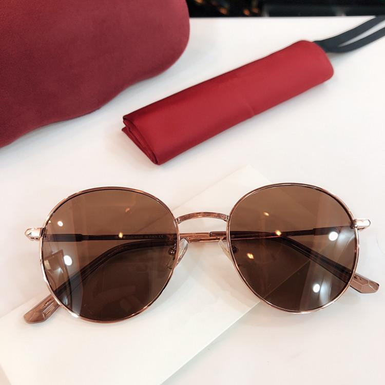 HOTSALE أزياء ستار GG0591 للجنسين النظارات الشمسية المستديرة المعدنية UV400 54-20-140superb إطار طلاء المعادن موجزة أنيقة النظارات الشمسية fullset حالة