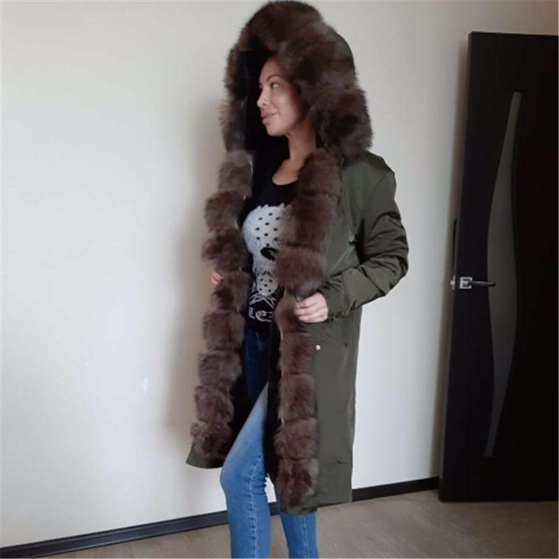 OFTBUY Su geçirmez Gerçek Kürk X-uzun Parka Kış Ceket Kadınlar Doğal Fox Kürk Yaka Hood Kalın Sıcak Dış Giyim Ayrılabilir NewMX191009
