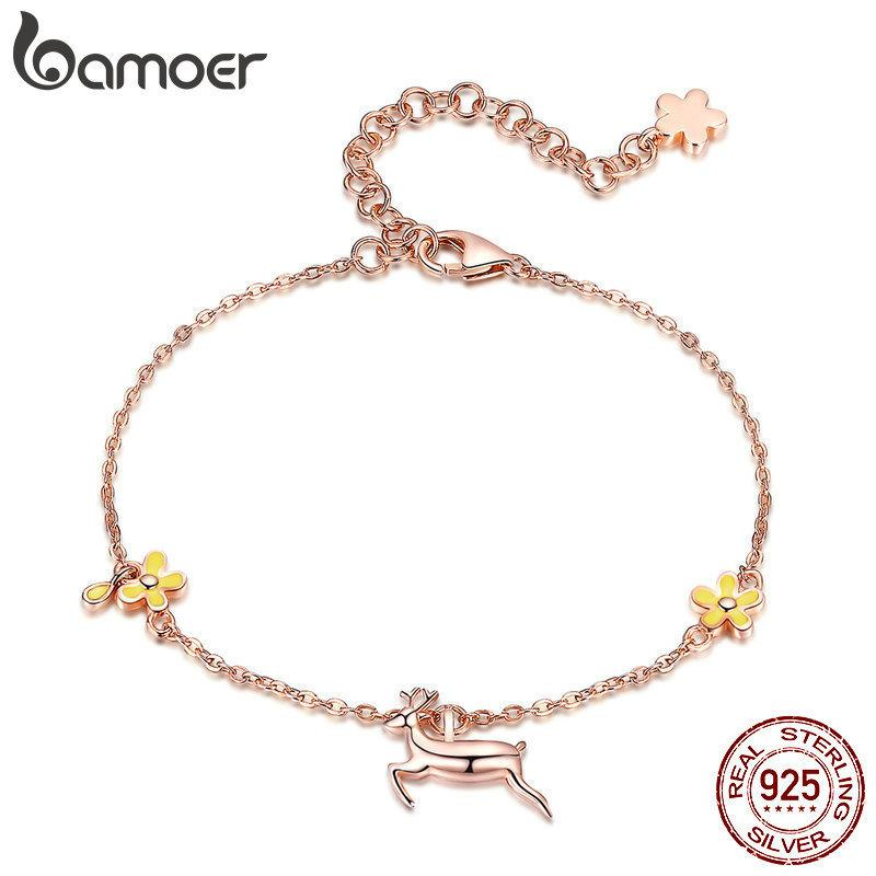 BAMOER New Arrival 925 Sterling Silver Running Elk Deer Rose Gold Color Women Chain Bracelets for Women Fine Jewelry BSB002