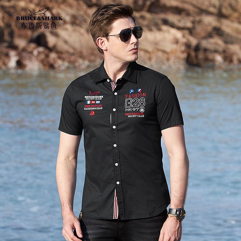 Mens oficina masculina camisa de algodón bordado ocasional Negocios camisa casual ropa masculina de la solapa de manga corta de verano adelgazan las camisas