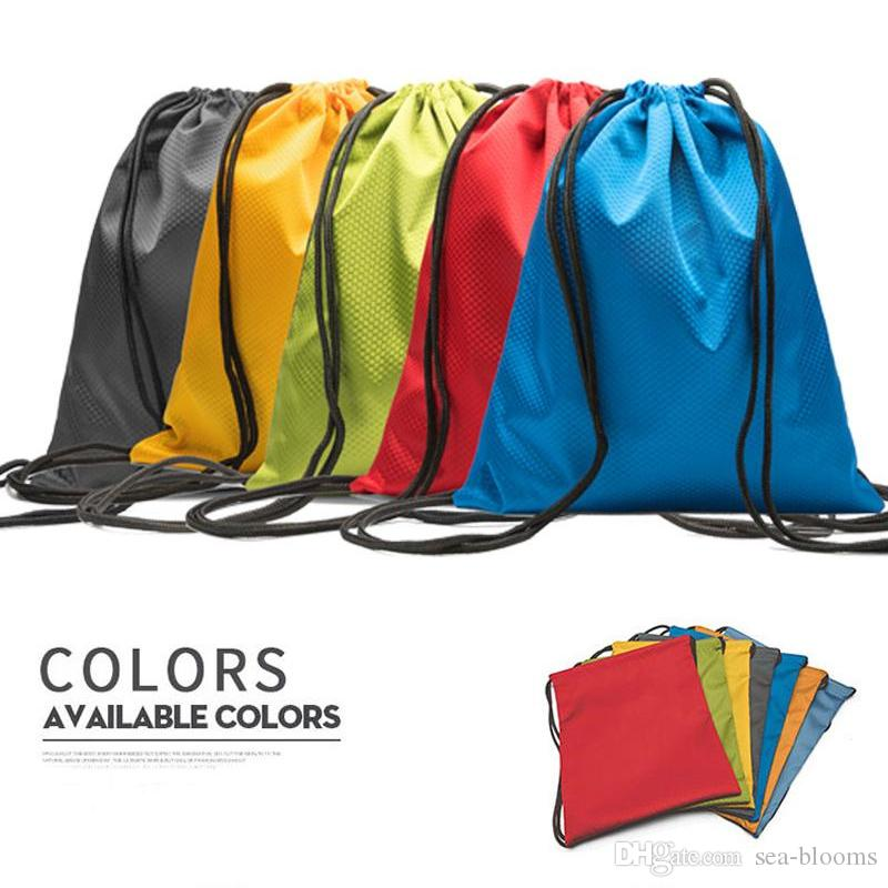 Newest Sports Waterproof Oxford Cloth Drawstring Backpack Folding Tote Bags Polyester Shopping Storage Bag Support FBA Drop Shipping M36F