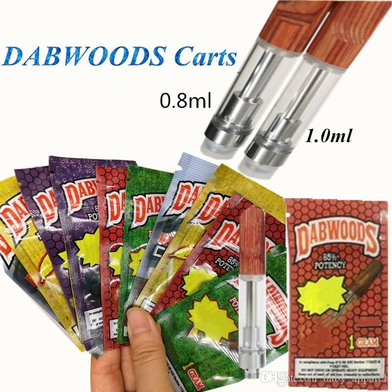 DABWOODS Cartridges Vapes Carts 1.0ml 0.8ml Ceramic Coils Wood Mouthpiece Drip Tips with Packing bags Vaporizer for Thick Oil 510 Vapor Pen