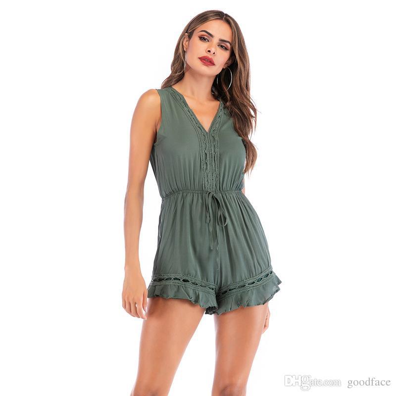 2019 neue Sommer Casual Daily Wear Frauen Overalls Weste Shorts Strampler V-Ausschnitt Taille ausgestattet Rüschen Fashion Dress Suit