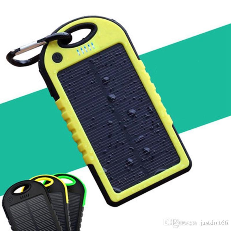 Solar Power Bank 5000 мАч Солнечные батареи Солнечные панели Зарядное устройство Водонепроницаемый пылезащитный Externa Портативное зарядное устройство Powerbank для мобильных телефонов SOC1