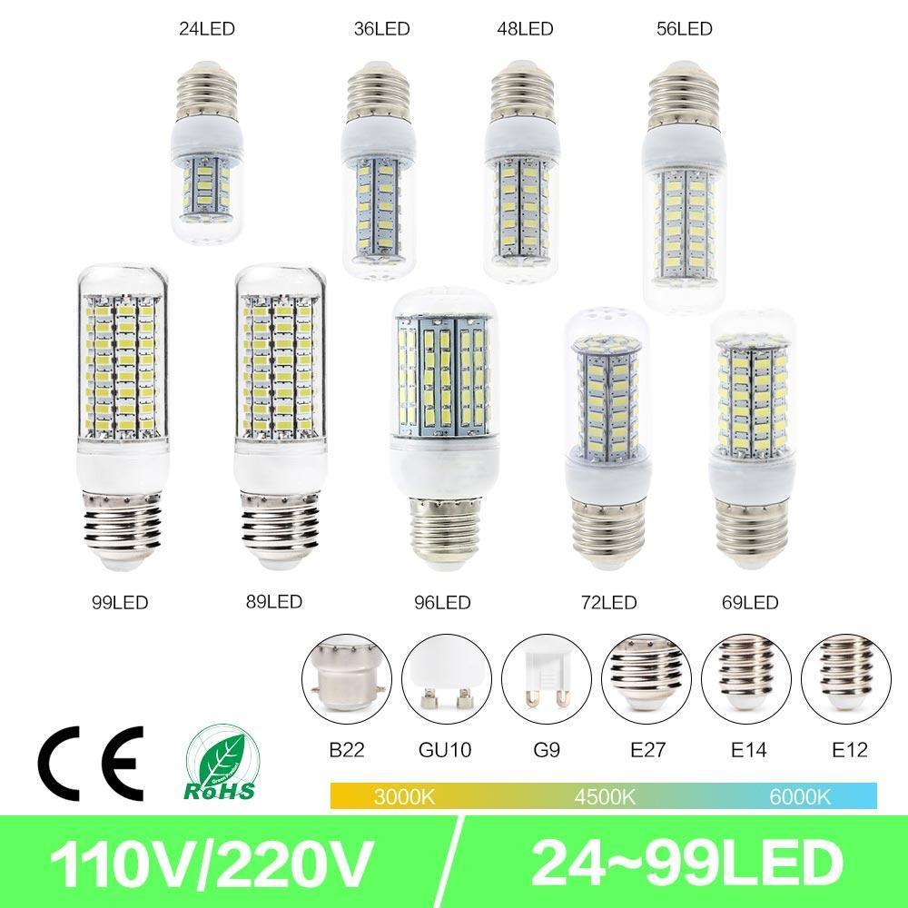 SMD5730 E27 GU10 B22 E14 G9 LED 램프 7W 12W 15W 18W 220V 110V 360 각도 SMD LED 전구 Led 옥수수 빛