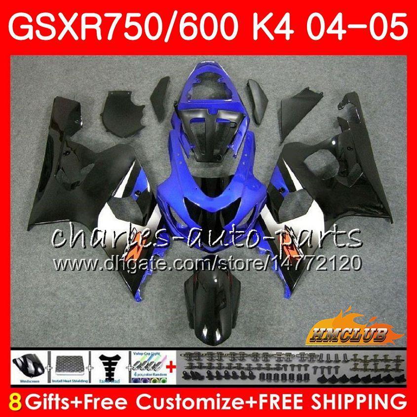 스즈키 GSX R600 R750 GSXR600 GSXR750 GSXR 600 750 04 05 7HC.61 GSXR750 GSXR750 K4 GSXR600 04 05 2004 2005 블루 블랙 HOT 페어링를 들어 키트