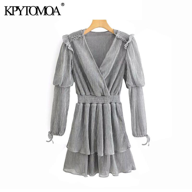 Vintage Şık Ruffles Parlak Pileli Mini Elbise Kadınlar 2020 Moda V Yaka Uzun Kollu Elastik Bel Kadın Elbiseler vestidos
