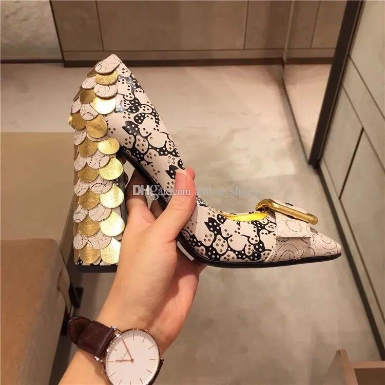New Hot T Show Escamas de peixe Sapatos de salto alto Monk Strap Lady Mary Jane Vestido Sapatos