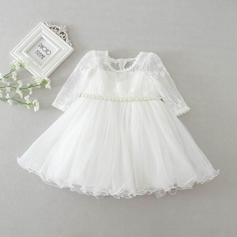 Toptan Yenidoğan Bebek Kız Vaftiz Elbise Bebek Kız Prenses Dantel Uzun Kollu Vaftiz Elbise Bebek Bebek Giyim