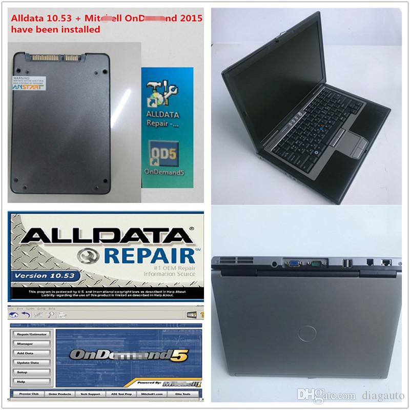 second hand Dell computer D630 4GB ram laptop + 1TB new SSD Auto car Repair Soft-ware Alldata V10.53+Mitch*ll installed well ready to use