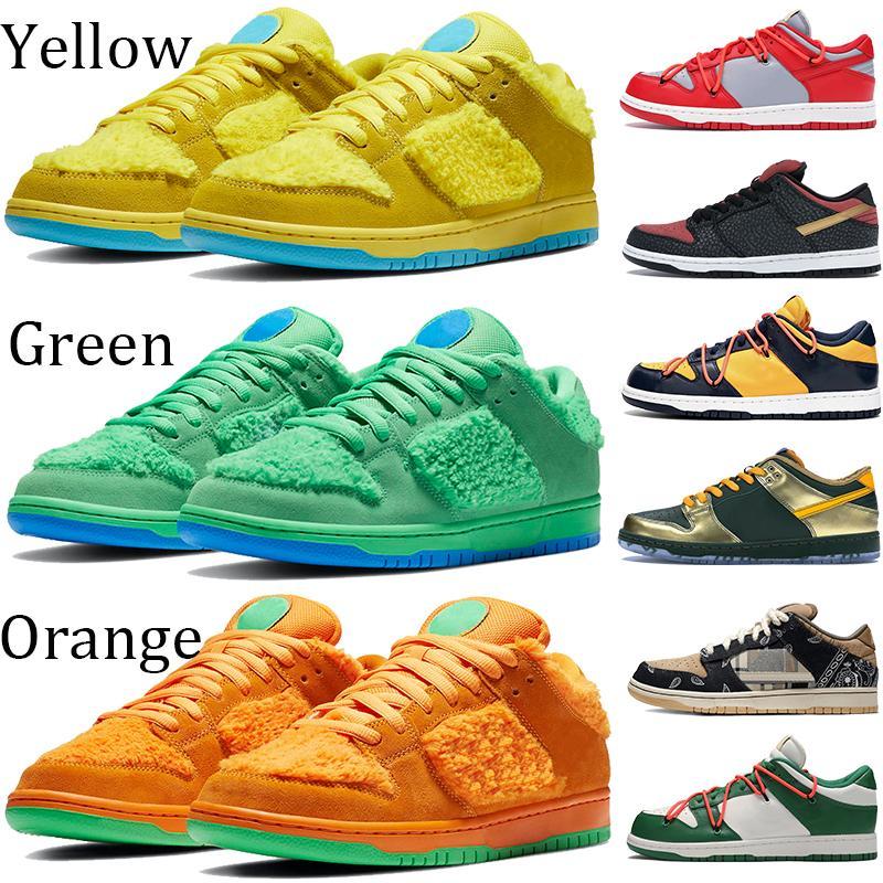 Мода желтого оранжевый зеленый медведь платформа обувь коренастого Тревиса SCOTTS университет Soul красного золото сосна зеленый галстук-краситель Flash-тапок женщин