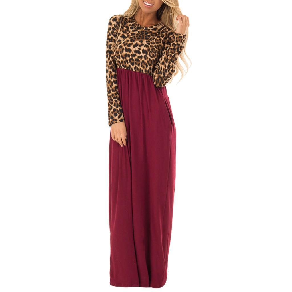 Vestido de mujer Vestido de manga larga Maxi vestido de niña Estampado de leopardo Contraste Patchwork Vestidos